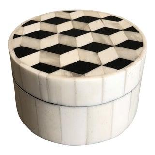Tozai Home Small Geometric Round Wood and Bone Box