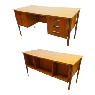 1960s Danish Modern Teak Double Sided Floating Desk For Sale