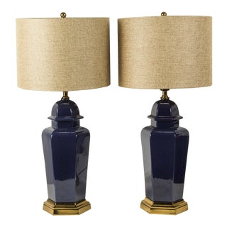 Modern Cobalt Blue Chinese Ginger Jars Table Lamps - a Pair For Sale