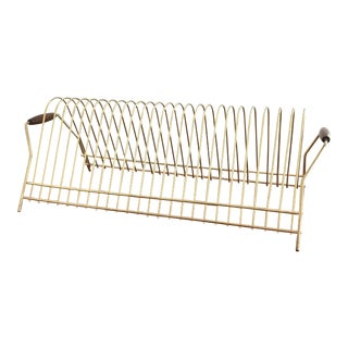 Mid-Century Gold Metal Magazine Rack