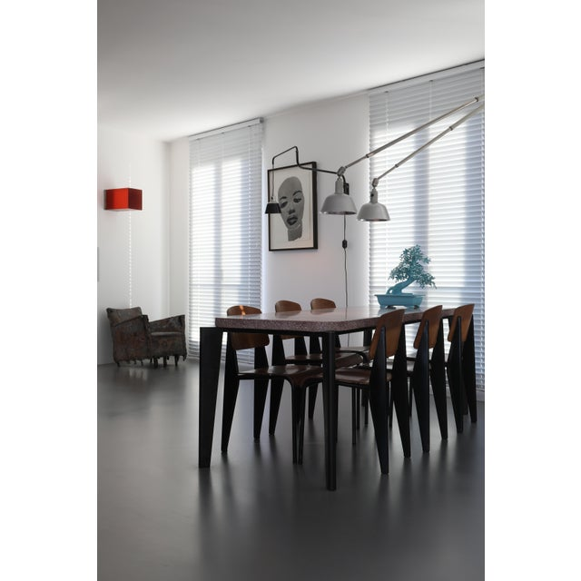 Jean Prouvé Jean Prouve Dining Table and Chairs – Granito Table and 6 Metropole Chairs For Sale - Image 4 of 10