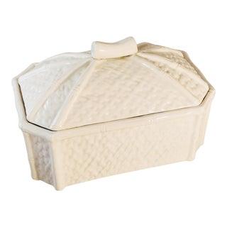 White Italian Mancer Porcelain Bamboo Design Box For Sale
