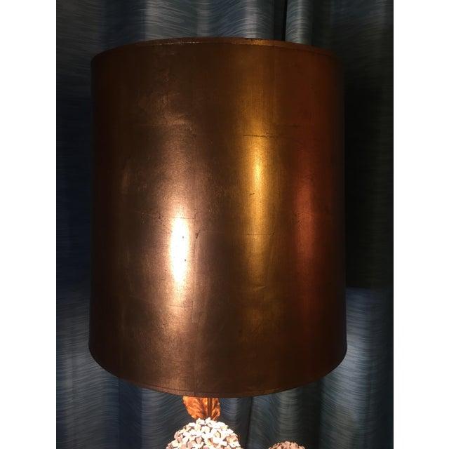 Italian Hydrangea Tole Table Lamp For Sale - Image 5 of 11