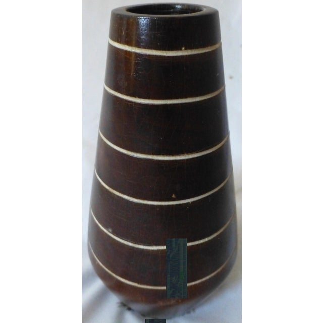 1950's Tiki Hawaiian Style Wooden Vase For Sale In Boston - Image 6 of 13