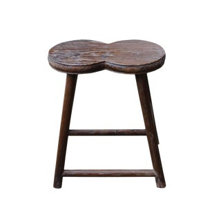 Chinese Raw Wood Double Round Accent Sitting Stool For Sale
