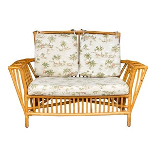 Vintage Rattan Adirondack Settee with Cushions For Sale
