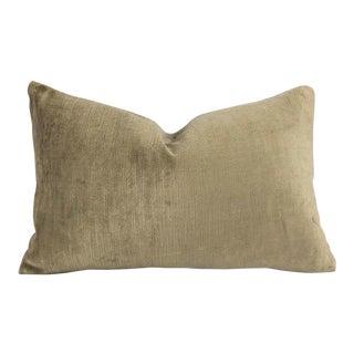 F. Schumacher Antique Linen Velvet Pebble Lumbar Pillow Cover For Sale