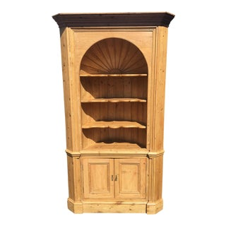 Charles & Charles Antique English Country Rustic Pine Corner Cupboard For Sale