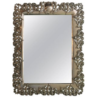 Black Staff and Frost Sterling Silver Vanity Wall Mirror For Sale