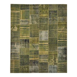 """Turkish Over-Dyed Green Patchwork Rug - 8'2"""" X 9'11"""" For Sale"""