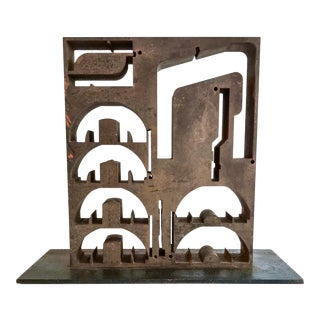 1970s Iron Brutalist Abstract Sculpture For Sale