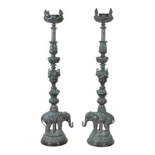 Pair of Beautiful Bronze and Marble Statement Candle Holders For Sale