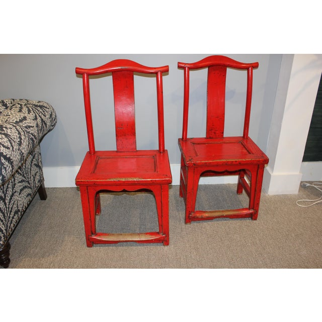 Asian Antique Chinese Rosewood Chairs - a Pair For Sale - Image 3 of 3