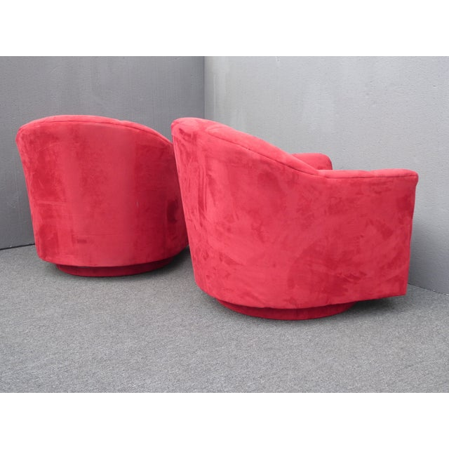 1970s Mid Century Modern Milo Baughman Style Red Swivel Chairs - a Pair For Sale - Image 11 of 13