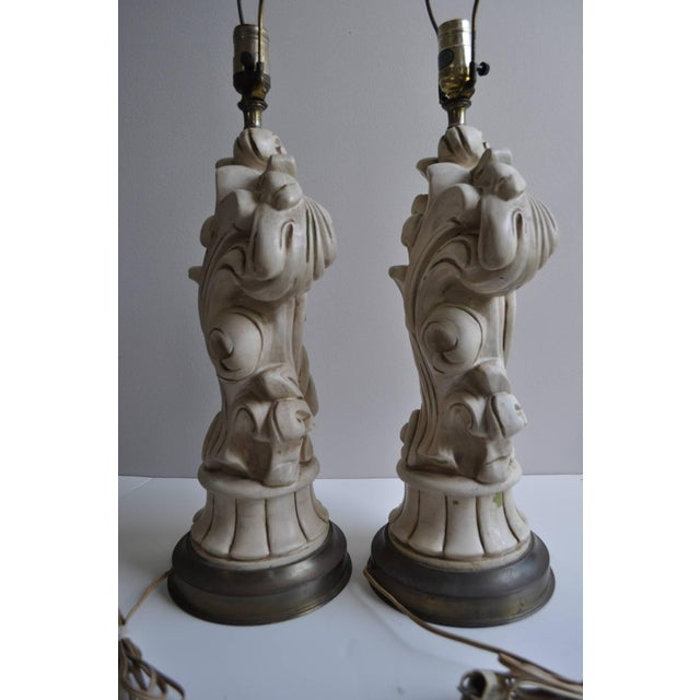 Chapman Manufacturing Company Hollywood Regency 1950s Chapman Plaster Sculptural Lamps For Sale - Image 4 of 6