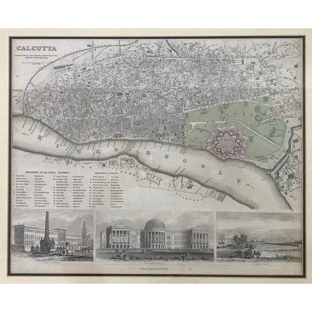 Anglo-Indian 19th. Century Antique Map of Calcutta, India With Fort William 1852 by the Society for the Diffusion of Useful Knowledge For Sale - Image 3 of 13