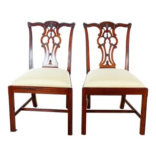 Chippendale Style Dining Chairs - a Pair For Sale
