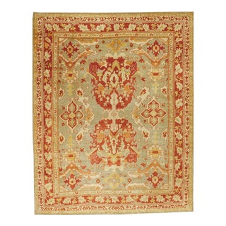 """Hand Knotted Turkish Oushak Rug, 9'7"""" X 12' For Sale"""