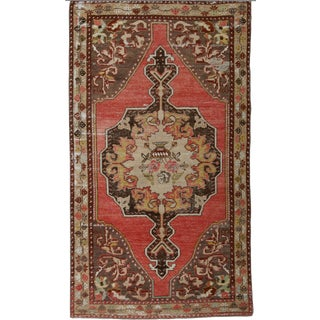 1960s Vintage Turkish Wool Rug - 1′8″ × 7′3″ For Sale