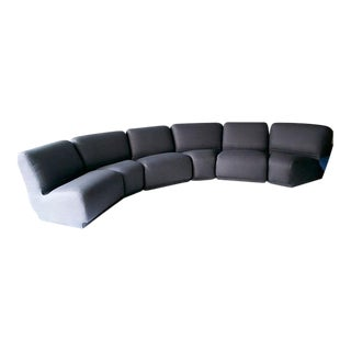 Vintage Knoll Charcoal Linen Modular Sofa For Sale