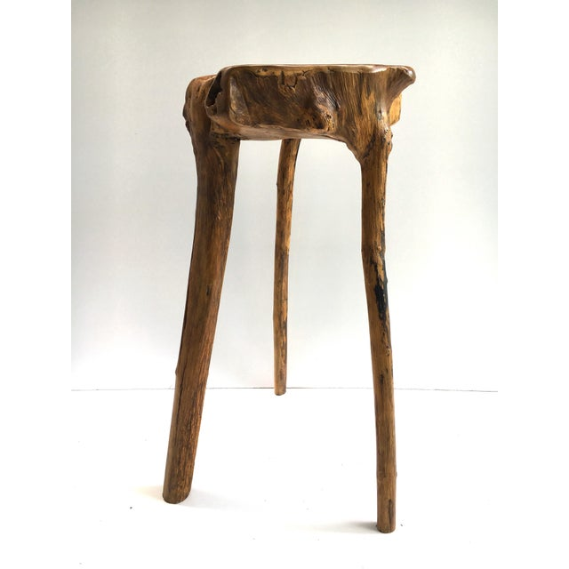 Wood Organic Modern Tree Root Wood Pedestal Table For Sale - Image 7 of 8