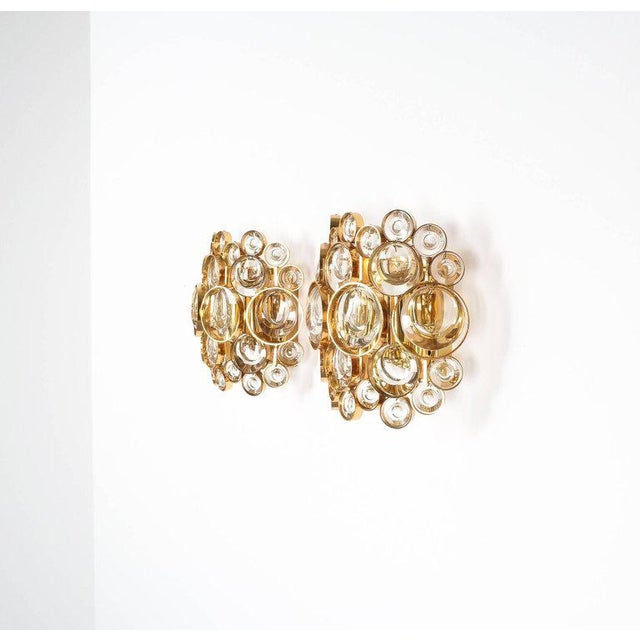 Pair of Gold-Plated Brass and Crystal Glass Wall Lamps Sconces by Palwa, 1960 For Sale - Image 5 of 8