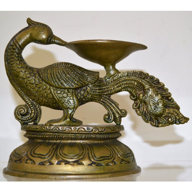 BRASS Metal OIL lamp cast with the Hindu figures of Yali...