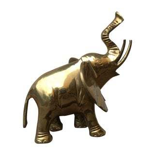 Vintage Brass African Elephant Statue For Sale