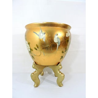 Vintage Japanese Gold 'Kinpaku' Porcelain Planter With Birds and Flowers Preview