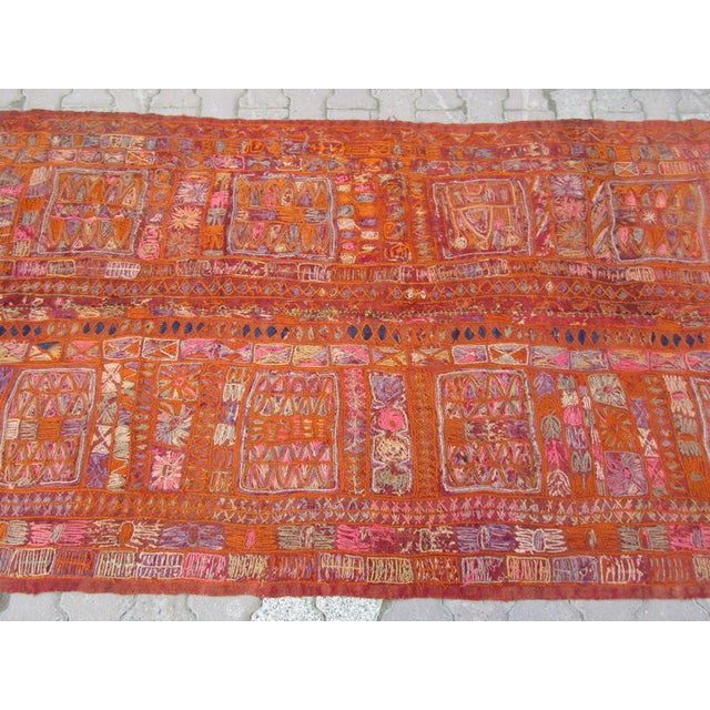 Traditional 1960s Traditional Orange Wool Iraq Kilim Rug For Sale - Image 3 of 6