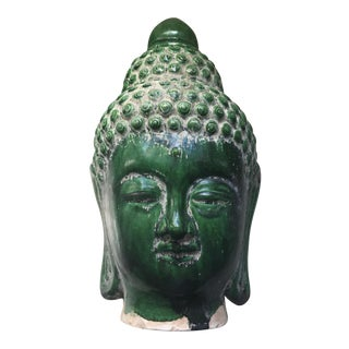 Jade Majolica Glazed Buddha Head For Sale