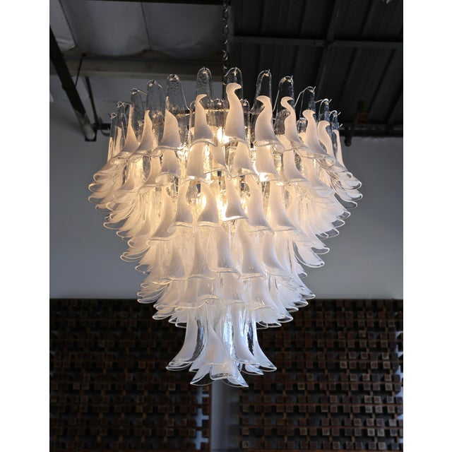 "Mazzega Large Scale Murano "" Selle "" Glass Chandelier Circa 1988 For Sale - Image 12 of 13"