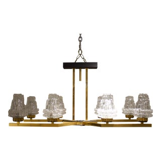 Eight Light Chandelier Attributed to Maison Arlus For Sale