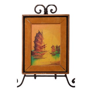 Vintage Chinoiserie Original Oil Painting Asian Sailboats Signed in Wood Shadowbox Velvet Frame For Sale