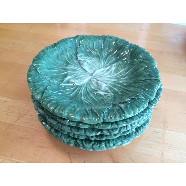 Vietri Lettuce/Cabbage Plates, Ceramic, Green - Set of 6 For Sale - Image 4 of 8