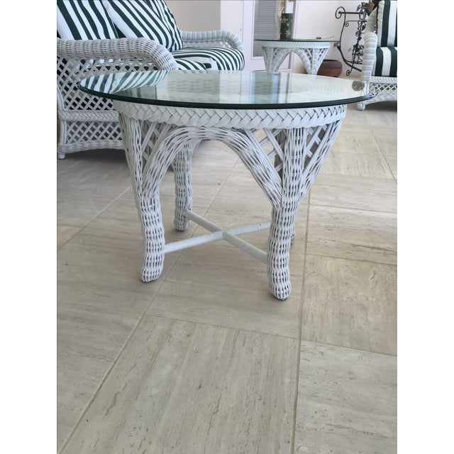 Cottage Woodard Outdoor White Wicker End Tables - A Pair For Sale - Image 3 of 4