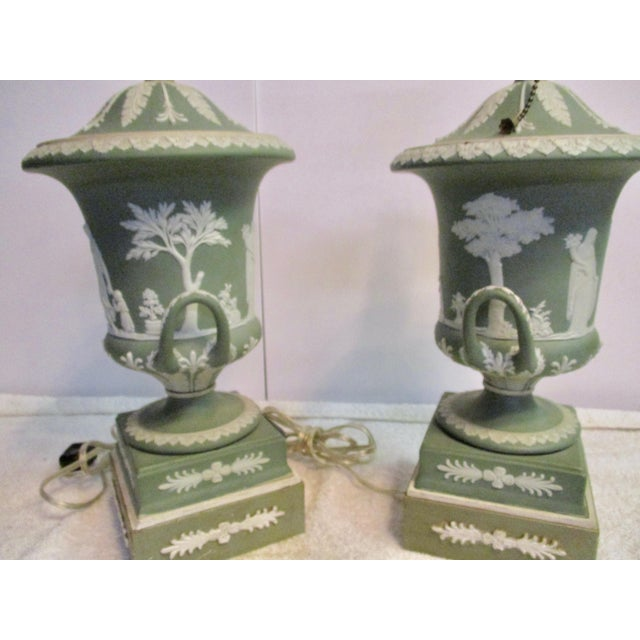 English Traditional Wedgewood Jasperware Urns Mounted as Lamps - a Pair For Sale - Image 3 of 10
