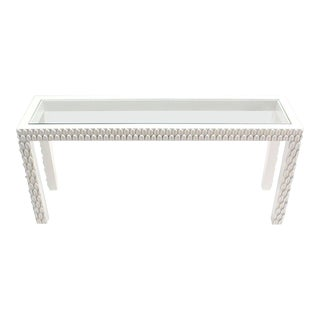 Vintage Mid Century Pineapple Pattern Carved White Lacquer Console Table For Sale