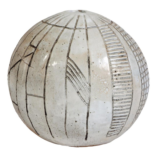 Large Heavy Art Pottery Spherical Vase For Sale - Image 9 of 9