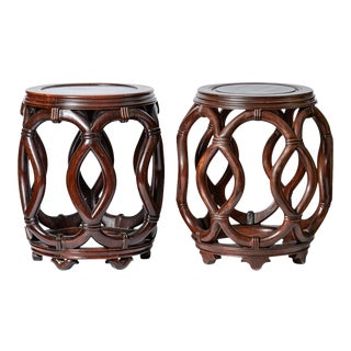 Chinese Rosewood Ribbon Form Stool / Side Table, a Set of 2 For Sale