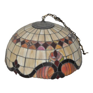 Stained Glass Dome Pendant Lamp c.1950s