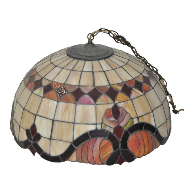 Stained Glass Dome Pendant Lamp c.1950s For Sale