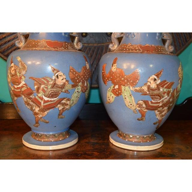 1900 - 1909 Antique Japanese Blue Satsuma Samurai Vases - a Pair For Sale - Image 5 of 11