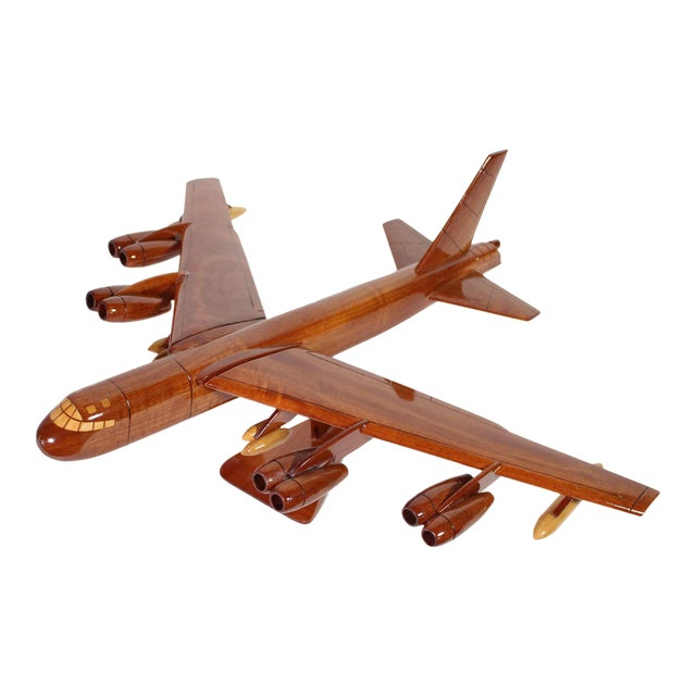 1970s Mid-Century Hand Carved Wood Replica B-52 Jet Plane For Sale