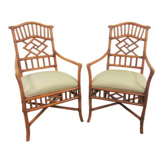 Chinoiserie Style Bamboo Arm Chairs - a Pair For Sale