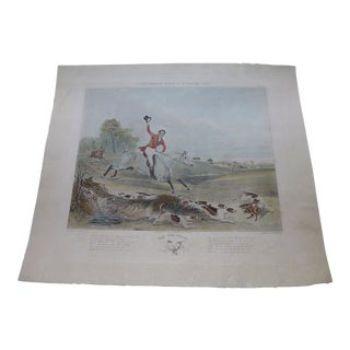 "British Hunting Print ""The Fox Chase"" by Charles Hunt For Sale"