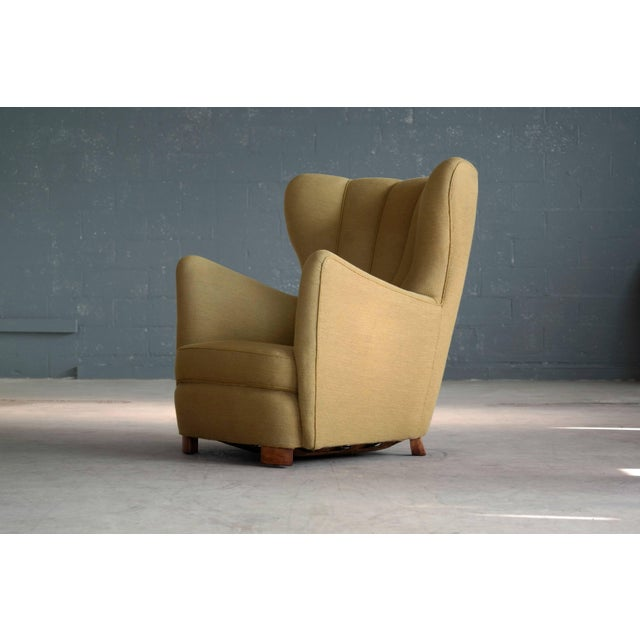 1940s 1940s Fritz Hansen Attributed Model 1672 Variant High Back Lounge Chair For Sale - Image 5 of 11