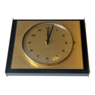 1960s Vintage Metal and Brass Quartz Wall Clock, Junghans Ato-Mat For Sale