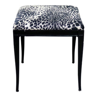 Black Art Deco and Animal Print Bench Ottoman Footstool Cast Aluminum by Crucible For Sale