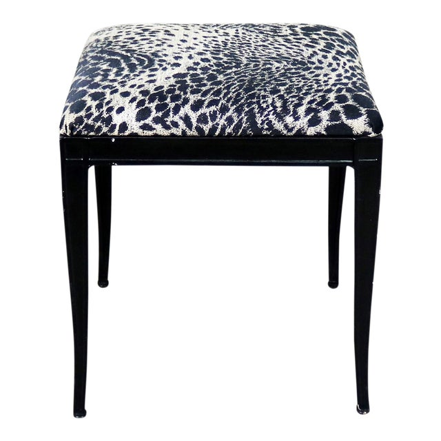 Image of Black Art Deco and Animal Print Bench Ottoman Footstool Cast Aluminum by Crucible